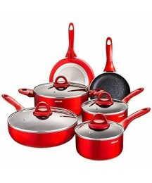 Cookware Set 10 Pieces Nonstick Pots and Pans, Chemical-Free Kitchen Sets with