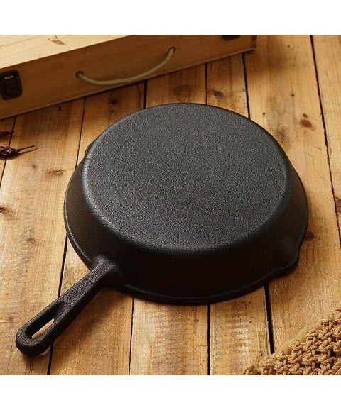 10X(Outdoor Camping Cast Iron Pan Picnic Barbecue Non-Stick Pan Skillet