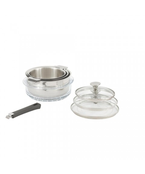 Sauce Pan Set Tulipe 8-Piece Stainless Steel Oven Safe Induction /Gas Compatible