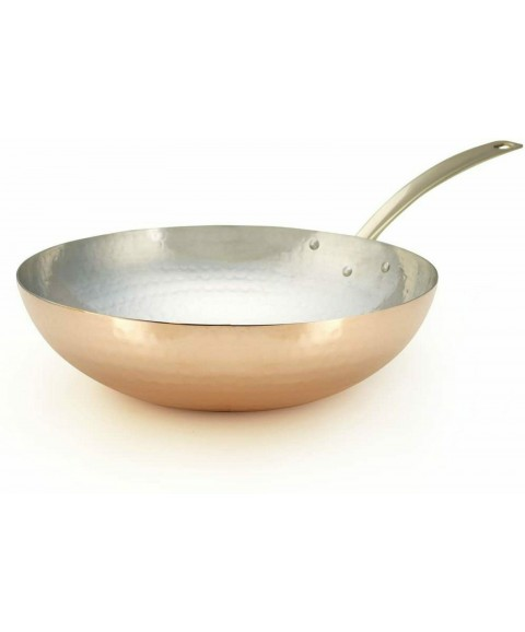 Copper Wok 11 Inch Hand-Hammered Tin Lined Cookware Kitchen Stir Frying Tossing