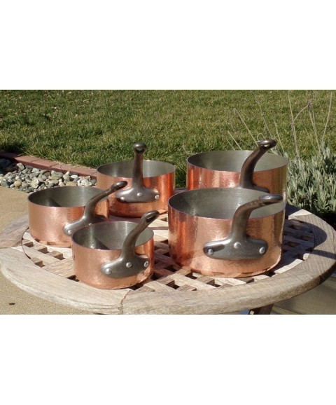 Set of 5 Hammered Copper Saucepans, 2 mm, Made in France