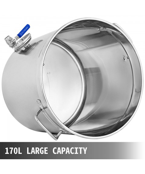 180 QT Stock Pot with Thermometer Brew Kettle Home Commercial Solid Construction