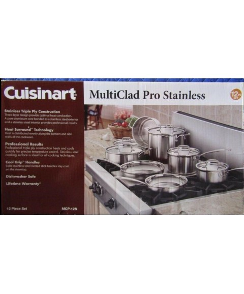Cuisinart MCP-12N Multiclad Pro Stainless Steel Cookware Set - 12 Pieces