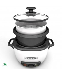 Slow Rice Cooker Steamer Large Pot Glass Lid Black Decker 28 Cup Automatic