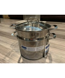 Viking 3-Ply Stainless Steel Stock Pot With Glass Lid, 8 Quart & Pasta Insert