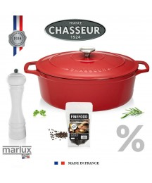 Chasseur - Oval Roaster 12 3/16in Red - Saver Set