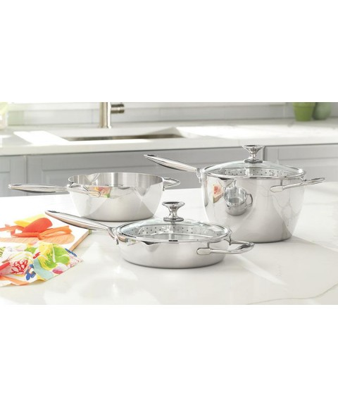Princess House Stainless Steel HEALTHY COOK-SOLUTIONS  Straining Sauté Set 5826