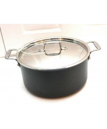 All Clad LTD 8 Quart Anodized Stainless Stock Pot With Lid Double Handles ~ New
