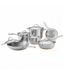 Anolon 11-Pc Nouvelle Copper Stainless Steel Cookware Set