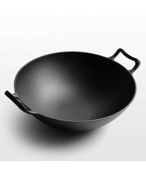 Double Ear Cast Iron Wok Large Round Bottom Pan Thickened Non Stick Uncoated Pot