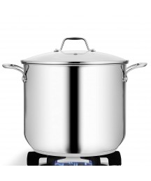 NutriChef Heavy Duty 15 Quart Large Stainless Steel Stock Pot Cookware (4 Pack)