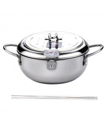 5X(Deep Frying Pot with A Thermometer Lid&Chopsticks Stainless Steel Kitchen
