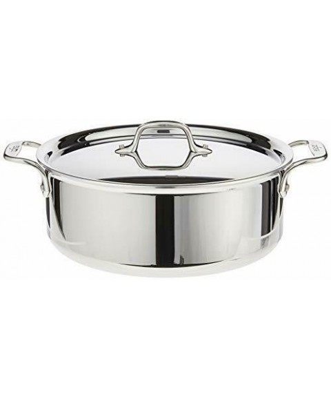 4506 Stainless Steel Tri-Ply Bonded Dishwasher Safe Stockpot with Lid 6-Quart