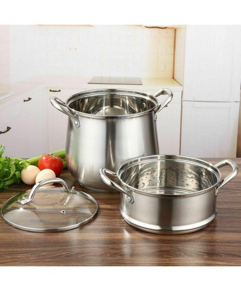 Stew Stocked Steamer Double Boilers Cookware Kitchen Stainless Steel Cooking Pot