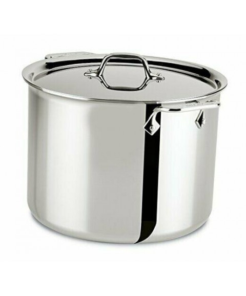 4512 Stainless Steel Tri-Ply Bonded Dishwasher Safe Stockpot with Lid 12-Quart
