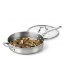 Calphalon Accucore 3 Qt Sautepan with Lid Stainless Steel, Alluminum, Copper New