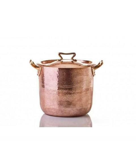 10 Qt Copper Stock Pot with Cast Bronze Standard Lid and Tin Lined