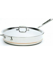 Copper Core 5-Ply Bonded Dishwasher Safe Saute Pan with Lid /  Cookware 6-Quart