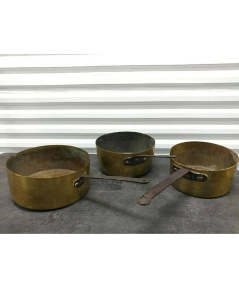 Antique French Brass Cooking Pots with Iron handles