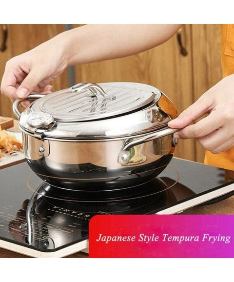 10X(Deep Frying Pot with A Thermometer Lid&Chopsticks Stainless Steel Kitchen
