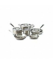 All-Clad BD005710-R D5 Brushed Stainless Steel 10pc Cookware Set - Silver