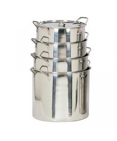 4 Piece Piece Large Size Stainless Steel Stock Pots Cooking