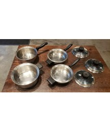 7 PIECE SET VINTAGE KITCHEN GOLD USA 7-PLY MAGNETIC INDUCTION CORE T304S SS