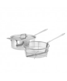 All-Clad D5 Stainless Steel 6 Qt Quart Deep Saute Pan Fry Basket New Never Used!