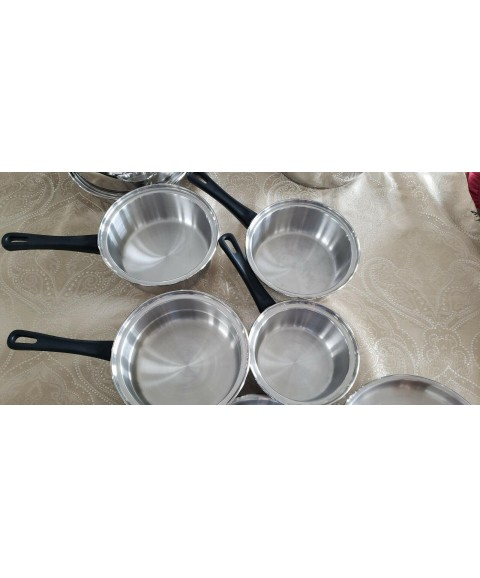 Worlds Finest MAXAM 7 Ply Surgical Stainless Steel 11 PIECE Cookware SET NICE!
