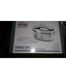 All-Clad Stainless Steel 15 in Covered Oval Roaster w/ Rack New in Box