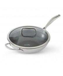 Stainless Steel Nonstick Wok with Lid NIB