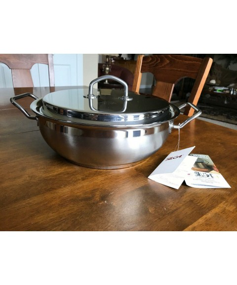 Silga Teknika Stainless Steel Casserole 28 cm w. two grips and Lid-Made in Italy