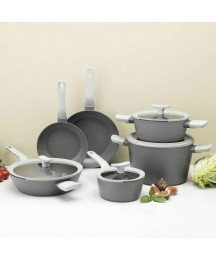 BergHOFF Leo Deluxe 10Pc Non-Stick Cookware Set, Gray Durable even cooking