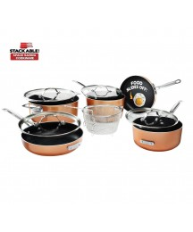 Gotham Steel Stackable Pots and Pans Set – Stackmaster Complete 10 Piece Space S