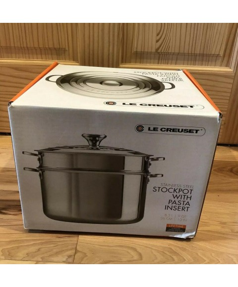Le Creuset 9 Qt. Stockpot with Lid & Deep Colander Insert - Stainless Steel