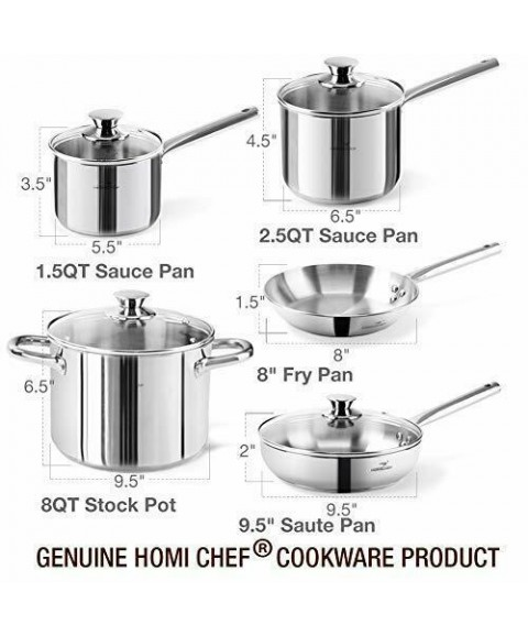 14-Piece Mirror Polished Nickel Free Stainless Steel Cookware Set