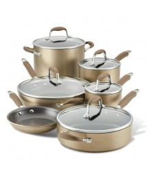 Anolon Advanced Home Hard-anodized Nonstick 11-piece Cookware Set in Bronze