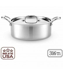 6 Quart Rondeau Lid - Titanium Strengthened 316Ti Stainless Steel 7-Ply Made USA
