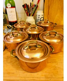 vintage stock never used set 6 copper pan pot stainless steel  made in France