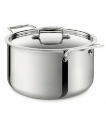 All-Clad D5 Polished 5-Ply 8-Qt Stock Pot with Lid, Lifetime, Induction able