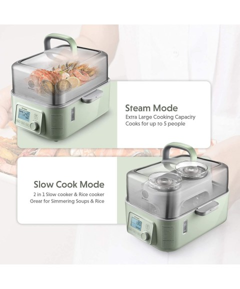 Buydeem G563 5-Quart Electric Food Steamer For Cooking, One Touch Vegetable Stea