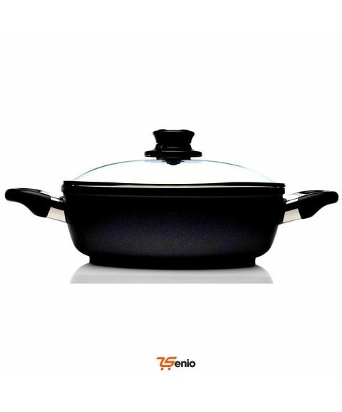Black Cooking Dishes Nonstick Casserole Pan Glass Lid Cover 2.3 Quarts - Rsenio
