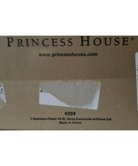 Princess House Stainless Steel 16 QT Deep Casserole with Glass Lid #6209 NIB