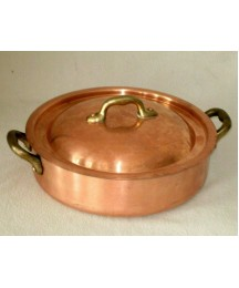 VINTAGE MAUVIEL COPPER RONDEAU PAN MARMITE POT SAUCE PAN WITH LID MADE IN FRANCE