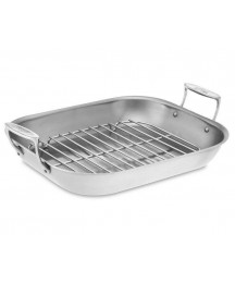 All-Clad Tri-Ply Stainless-Steel Large Flared Roasting Pan with Rack
