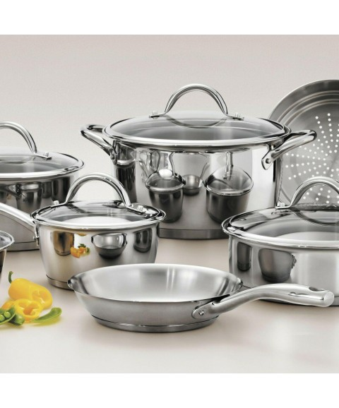 12 Pieces Gourmet TriPly Clad Cookware Set Cooking Pots And Pans Stainless Steel