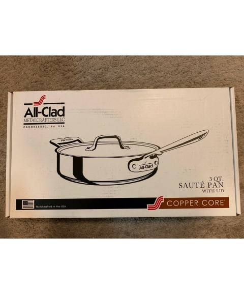 All-Clad Copper Core Stainless Steel 6 Quart Saute Pan With Lid - 6406 SS