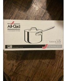 ALL-CLAD 3.5 qt. COVERED SAUCEPAN Tri-Ply Stainless Steel Dishwasher Safe